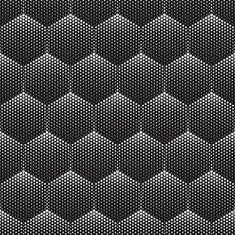 Halftone tech hexagons seamless pattern