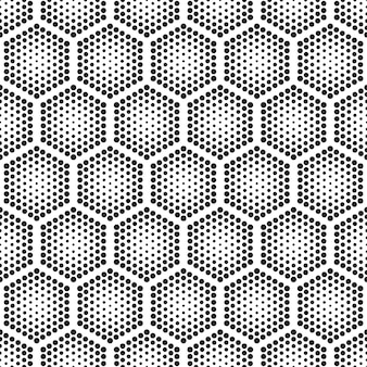 Halftone tech hexagons seamless pattern