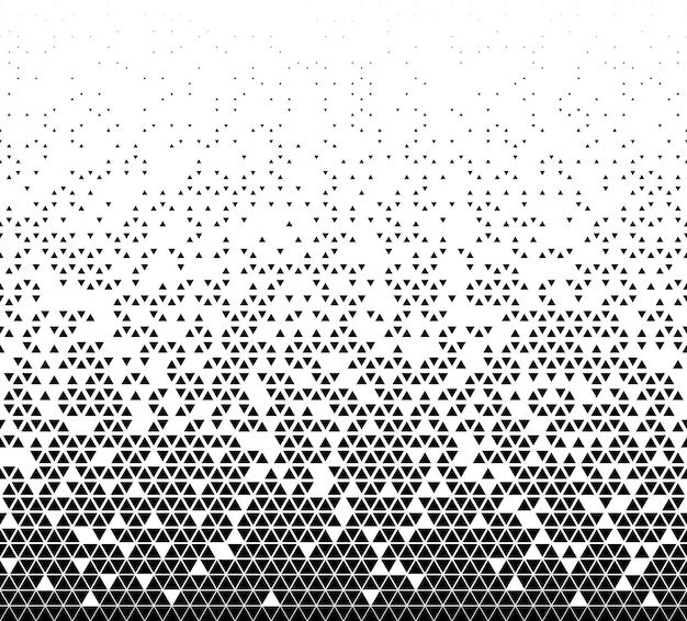 하프톤 벡터 배경입니다. 검은색 삼각형으로 채워집니다. 긴 페이드 아웃. 무작위로 무너집니다.