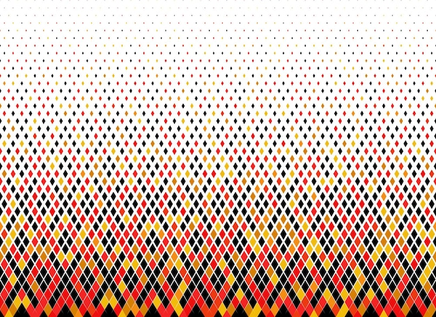 Halftone vector background.filled with colored diamonds .long fade out. randomly coloured.