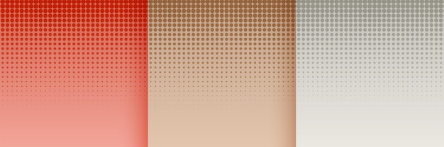 Halftone wallpaper set in red brown and gray colors