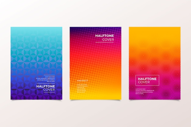 Halftone warm and cold colours cover collection