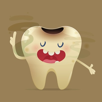 Halitosis illustration with cartoon tooth with bad breath
