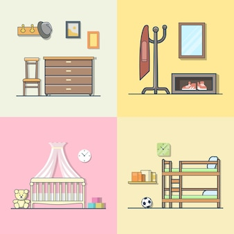 Hall hallway children kid room interior indoor set. linear multicolor stroke outline flat style  icons. color icon collection.