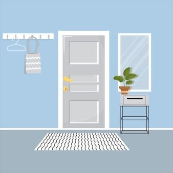 ドア棚ミラー付きホールインテリアエレガントでスタイリッシュでモダンな居住ビル