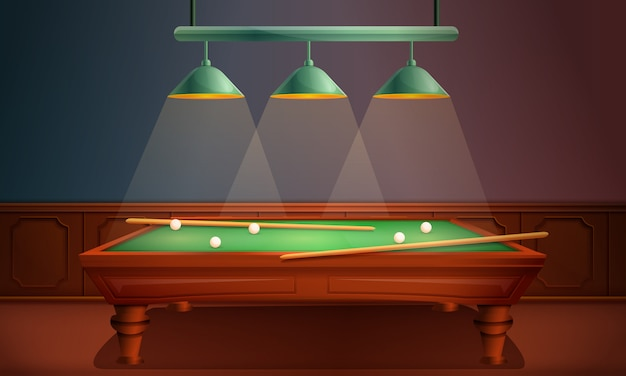Hall with pool table, illustration