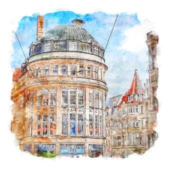 Halle germany watercolor sketch hand drawn illustration