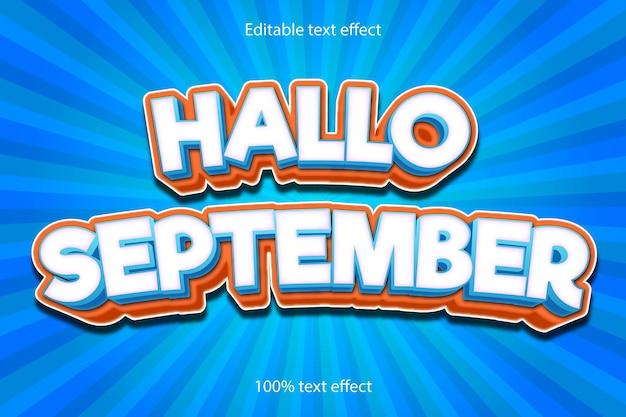 Hallo september editable text effect