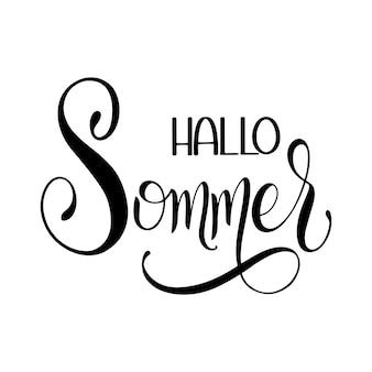 Привет, соммер. привет, лето, надпись на немецком языке. элементы для приглашений, плакатов, открыток. сезоны приветствия