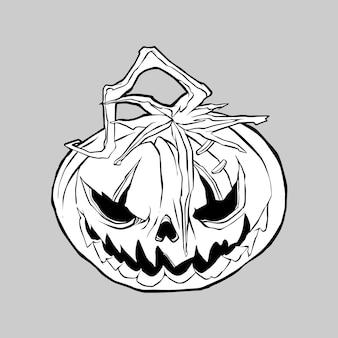 Hallo ween pumpkins hand drawing illustration vecto