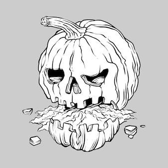 Hallo ween pumpkins hand drawing illustration vector
