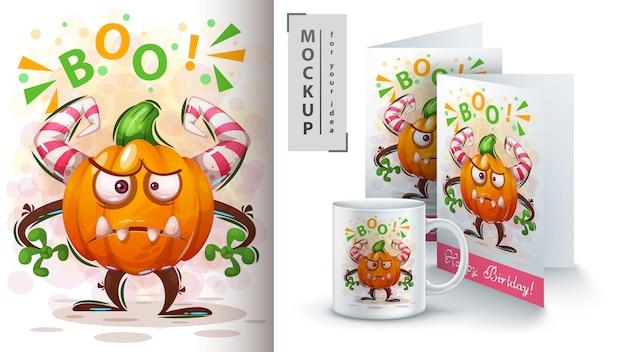 Hallooween pumpkin poster and merchandising