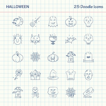 Halloween 25 doodle icons