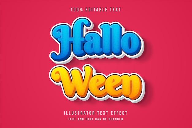 Хэллоуин, 3d редактируемый текстовый эффект, синяя градация, желтый стиль комиксов