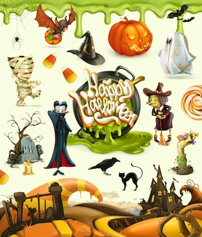 Halloween 3d vector elements, characters, pumpkins and monsters