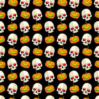 Halloween abstract seamless pattern mosaic design with skulls and funny pumpkins faces on black background