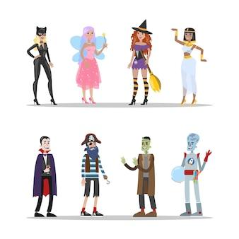 Набор костюмов для взрослых на хэллоуин. привлекательная одежда для вечеринки. костюмы пиратов и пришельцев, ведьм и фей. иллюстрация