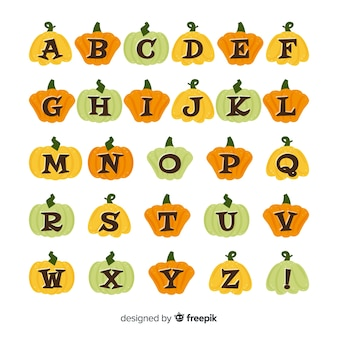 Halloween alphabet with pumpkin letters