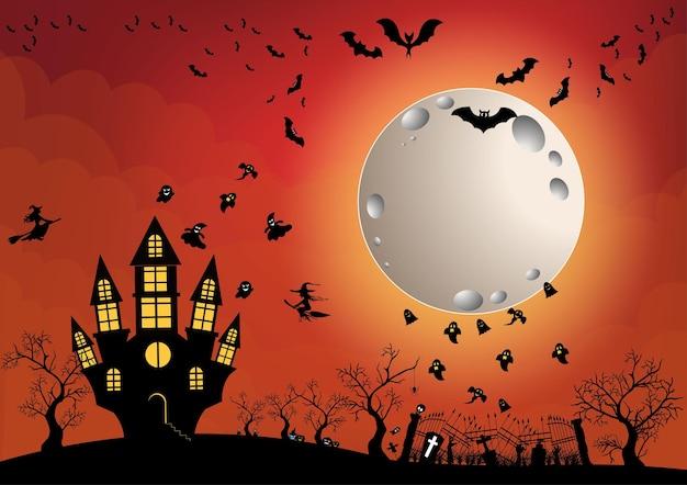 Хэллоуин и полная луна в темной ночи, темный замок на фоне полной луны