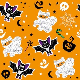 Halloween animals cute cartoon ginger cat in mummy costume pumpkin and bat seamless pattern