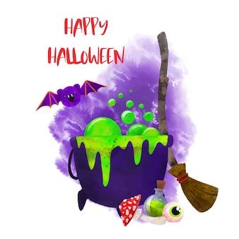 Хэллоуин искусство рисованной вектор акварель искусство