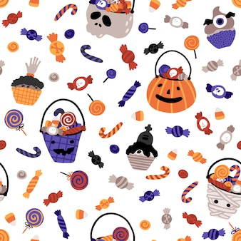 Halloween baby buckets with sweets seamless pattern.