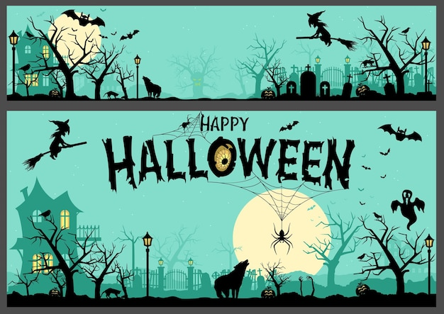 Хэллоуин фон и баннер с черными силуэтами на бирюзовом цвете