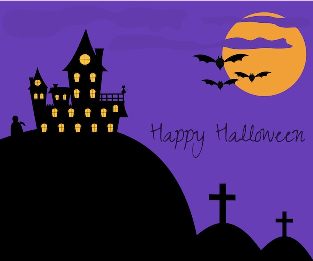 Halloween background banner with castle and moon