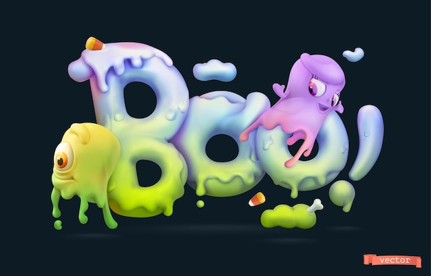 Halloween background. boo lettering with slime ghosts. 3d vector cartoon illustration