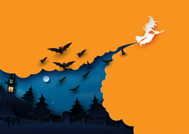 Halloween background concept paper art style.