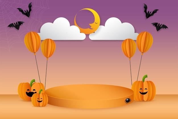 Хэллоуин фон концепции подиум дисплей продвижение продукта, векторные иллюстрации.