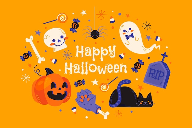 Halloween background cute elements