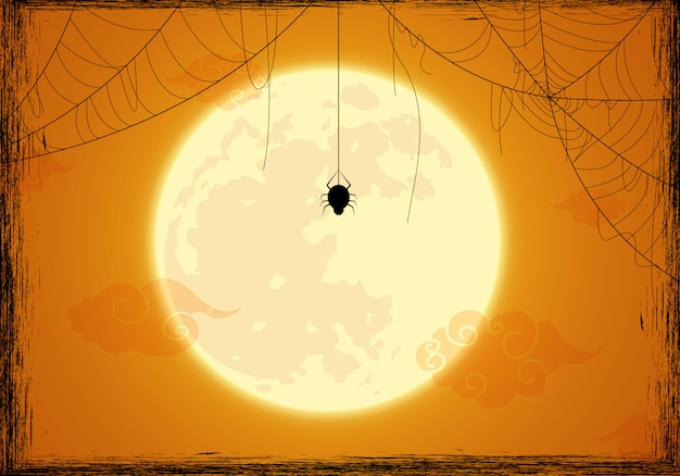 Halloween background decorated and spider web