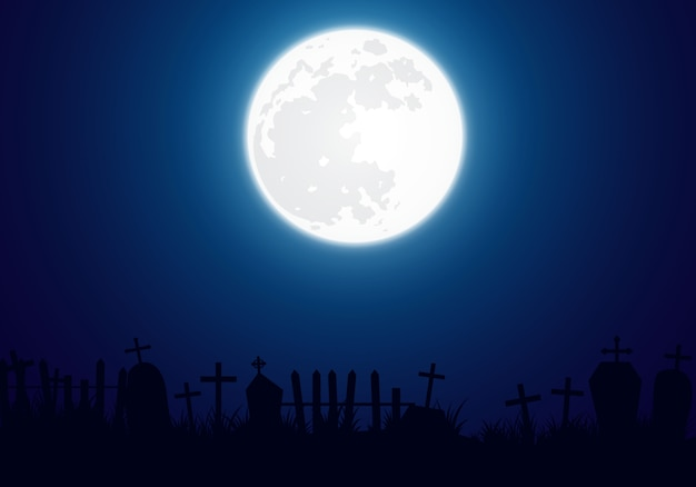 Halloween background decorated with big brilliant moon