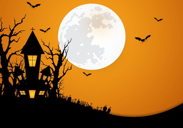 Halloween background decorated with castle