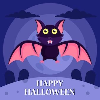 Шаблон оформления фона хэллоуин с летучей мышью на могиле