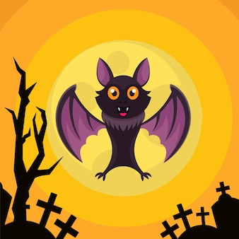 Halloween background design template with a bat at the grave