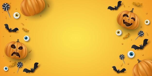 カボチャと装飾的な目、お菓子、ロリポップ、コウモリを笑顔の3d感情的な漫画とハロウィーンの背景デザイン。ホリデーカバー、バナーまたはパーティーの招待状