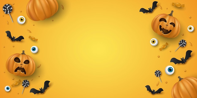 Halloween background design with 3d emotional cartoon smiling pumpkins and decorative eyes, sweets, lollipops, bats. holiday cover, banner or party invitation