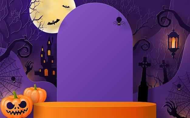 Halloween background design with 3d podium round square box stage podium