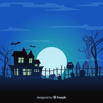 Halloween background design with haunted house and cemetery