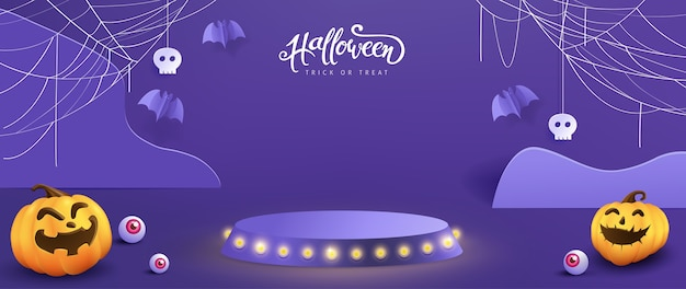 Дизайн фона хэллоуина с отображением продукта и праздничными элементами хэллоуина.