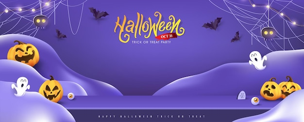 Halloween background design with product display and festive elements halloween Premium Vector