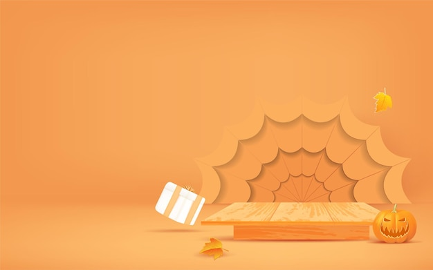 Halloween background design with wooden podium display