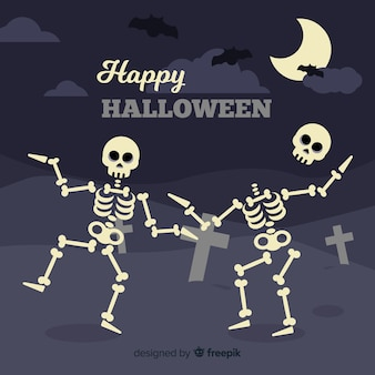 Halloween background in flat design with dancing skeletons
