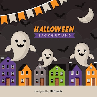 Halloween background in flat design with ghosts in the city