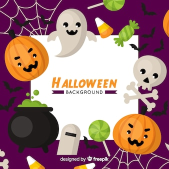 Halloween background in flat design with ghosts and pumpkins