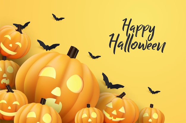 Halloween background in flat design with pumpkin