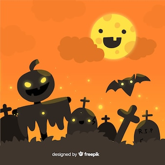 Halloween background in flat design with zombie pumpkins