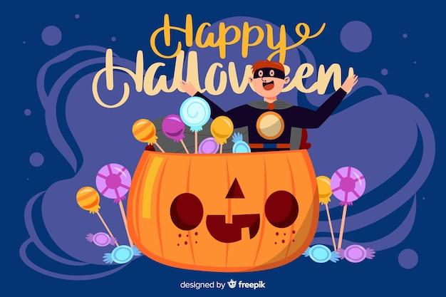 Halloween background in flat design